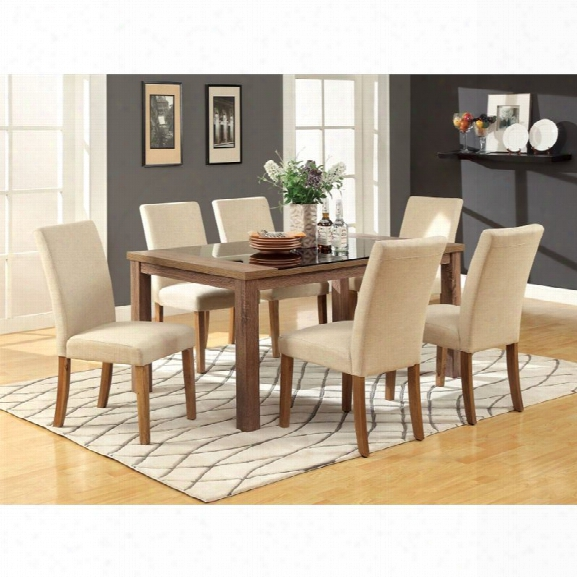 Furniture Of America Kiracha 7 Piece Dining Set In Ivory