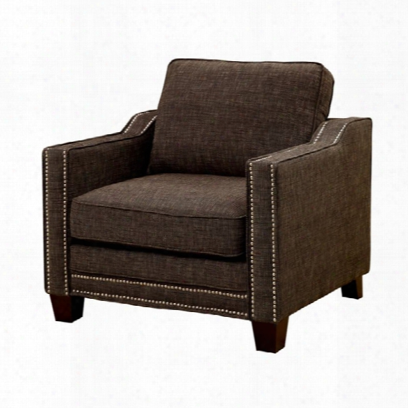 Furniture Of America Landrum Chenille Accent Chair In Brown