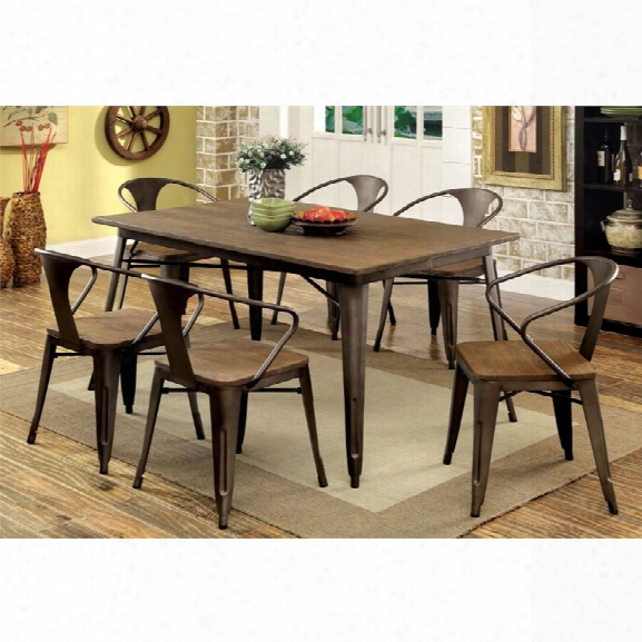 Furniture Of America Mayfield 7 Piece Dining Set In Natural Elm