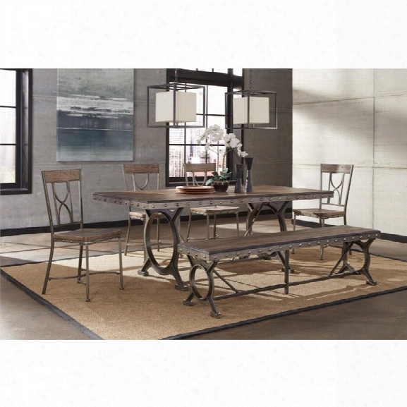 Hillsdale Paddock 6 Piece Dining Set In Brown Gray