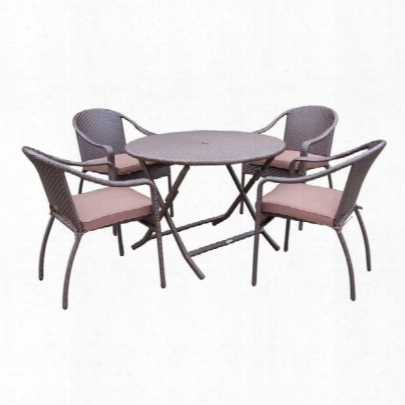 Jeco 5 Piece Wicker Table Dining Set In Brown