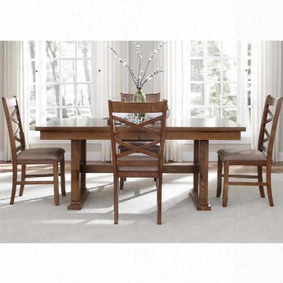 Liberty Furniture Bistro 5 Piece Trestle Dining Set In Honey