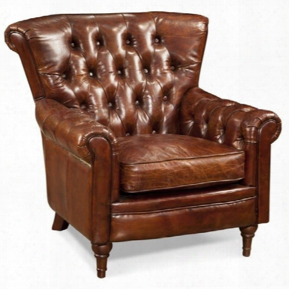 Moe's New Castle Tufted Leather Club Arm Chair In Brown