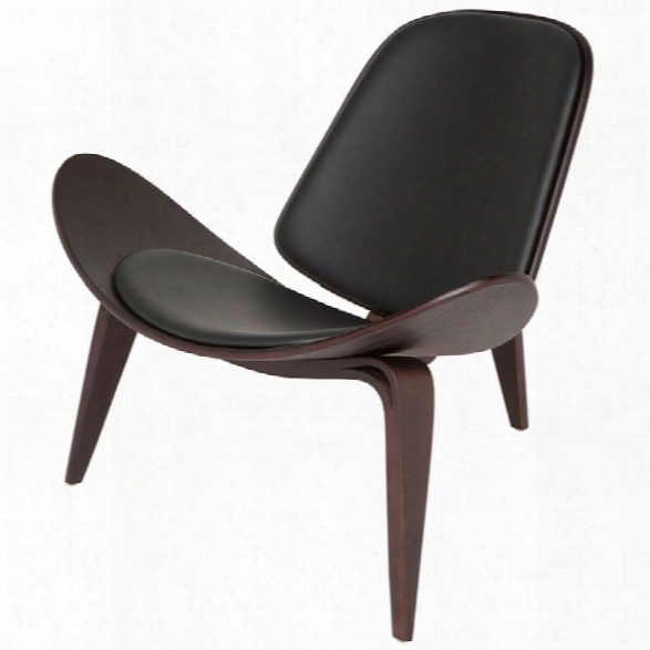 Nuevo Artemis Leather Accent Chair In Dark Walnut And Black