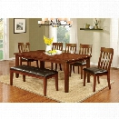 Furniture of America Claire Country 6 Piece Dining Set in Cherry
