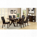 Furniture of America Egnew 7 Piece Extendable Dining Set in Dark Oak