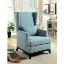 Furniture of America Norrell Linen Aerial Back Accent Chair in Blue