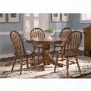 Liberty Furniture Nostalgia 5 Piece Round Dining Set in Medium Oak