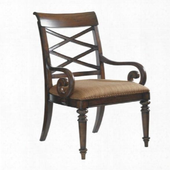 Tommy Bahama Home Landara Cedar Point Fabric Arm Chair In Brown