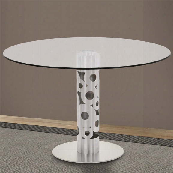 Armen Living Berlin Glass Top Dining Table In Brushed Stainless Steel