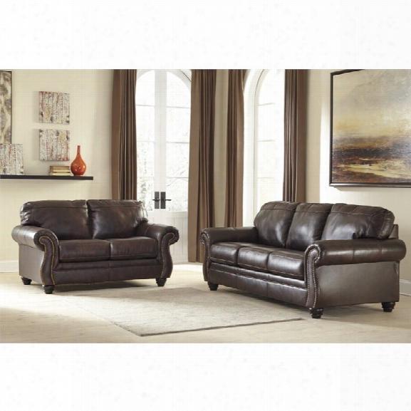Ashley Bristan 2 Piece Sofa Set In Walnut