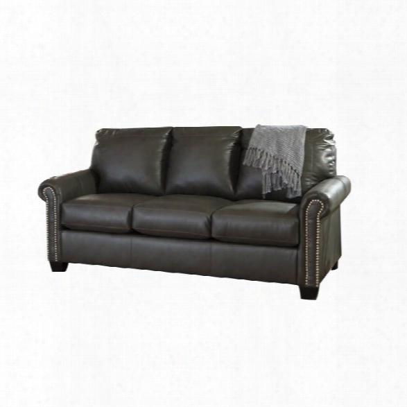 Ashley Lottie Leather Full Sleeper Sofa In Slate