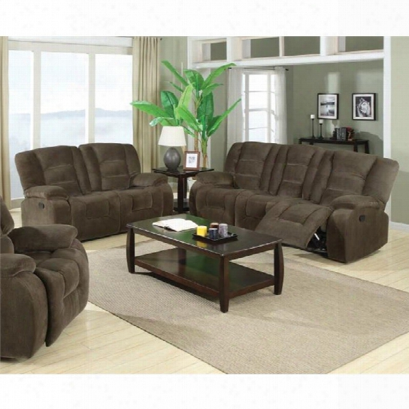 Coaster Charlie 2 Piece Reclining Sofa Set In Brown Sage Velvet