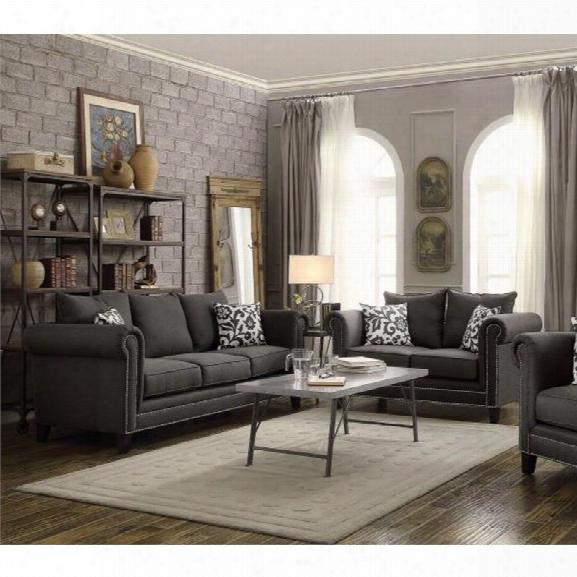 Coaster Emerson 2 Piece Fabric Sofa Set In Gray