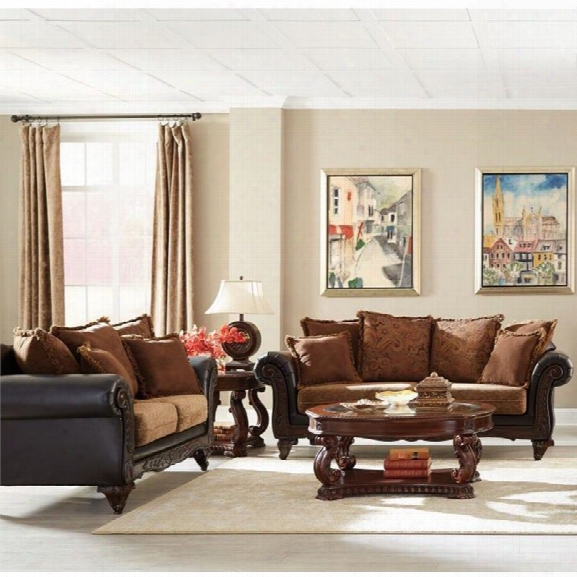 Coaster Garroway 2 Piece Sofa Set In Russet