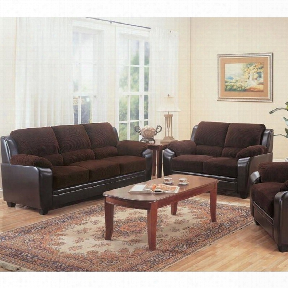Coaster Monika 2 Piece Statiobary Sofa Set In Chocolate