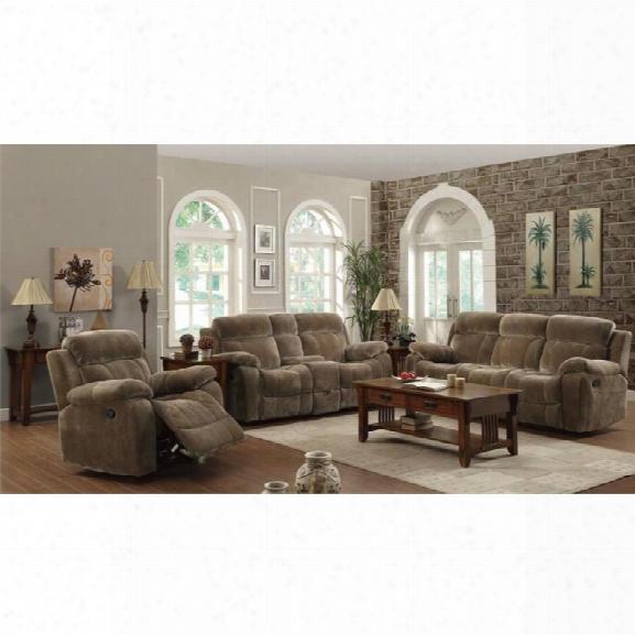 Coaster Myleene 3 Piece Reclining Sofa Set In Padded Velvet