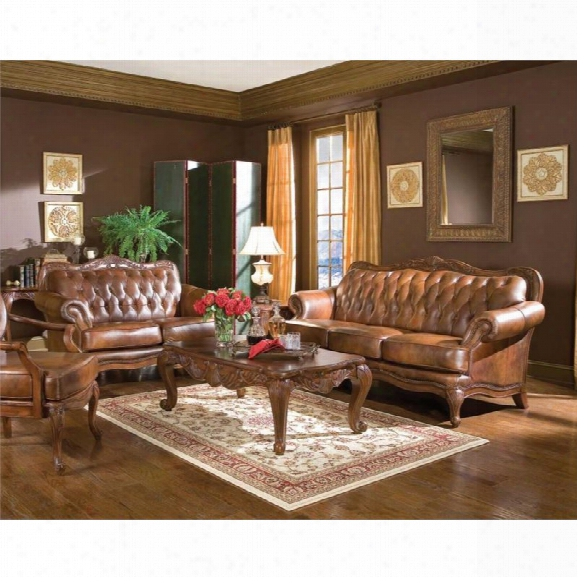 Coaster Vienna 3 Piece Classic Brown Leather Sofa Set