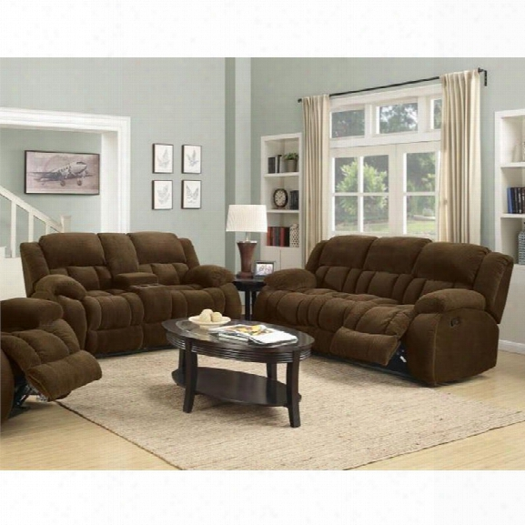 Coaster Weissman 2 Piece Reclining Sofa Set In Brown