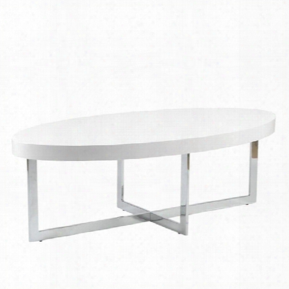 Eurostyle Oliver Oval Coffee Table In White Lacquer