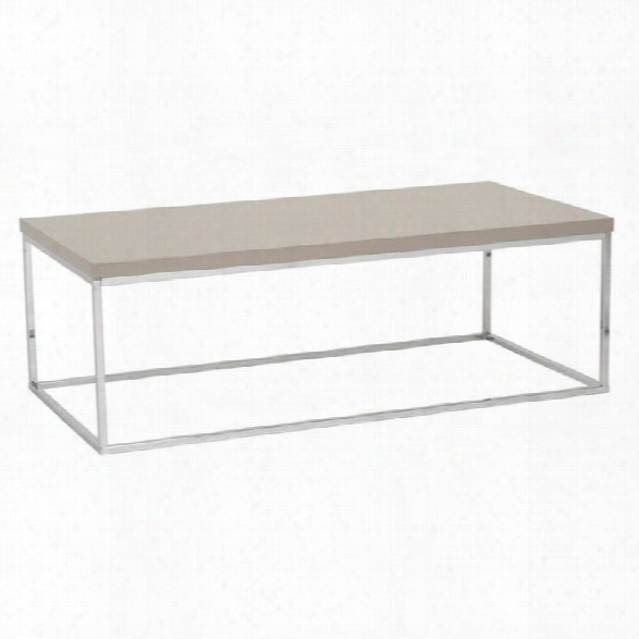 Eurostyle Teresa Rectangular Coffee Table In Taupe Lacquer