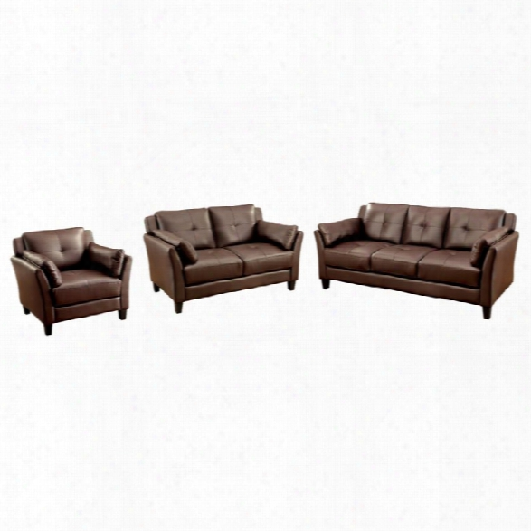 Furniture Of America Harrelson 3 Piece Leatherette Sofa Set In Brown