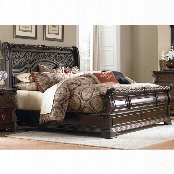 Liberty Furniture Arbor Place King Sleigh Bed In Brownstone