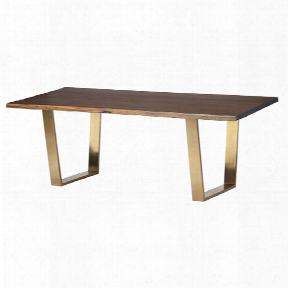 Nuevo Versailles 78 Dining Table In Seared Brown And Gold