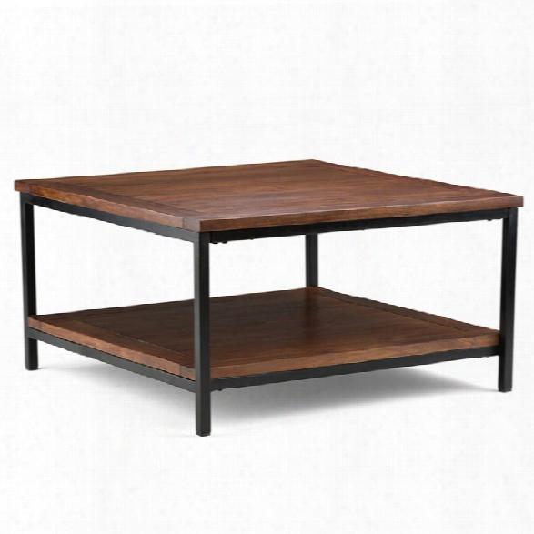 Simpli Home Skyler Square Coffee Table In Dark Cognac Brown