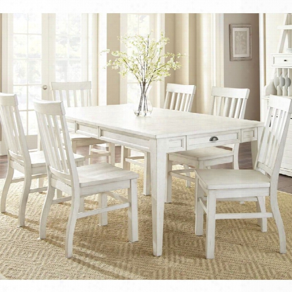 Steve Silver Cayla Extendable Dining Table In Antique White