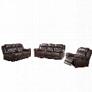 Abbyson Living Paulo 3 Piece Reclining Set in Brown
