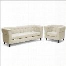 Baxton Studio Cortland Chesterfield Sofa Set in Beige