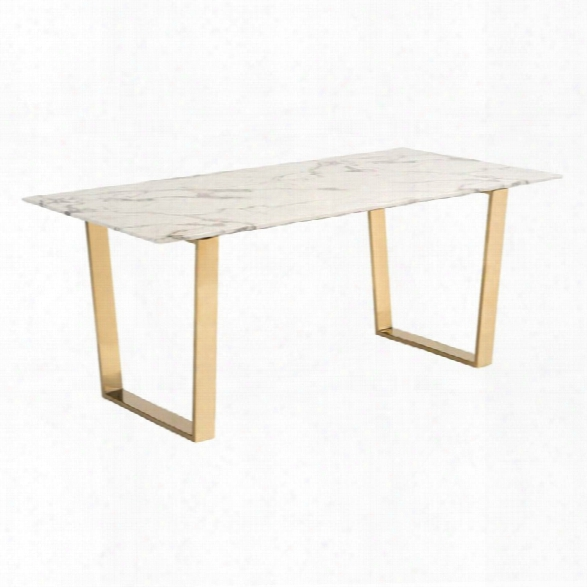 Zuo Atlas Faux Marble Top Dining Table In Stone And Gold