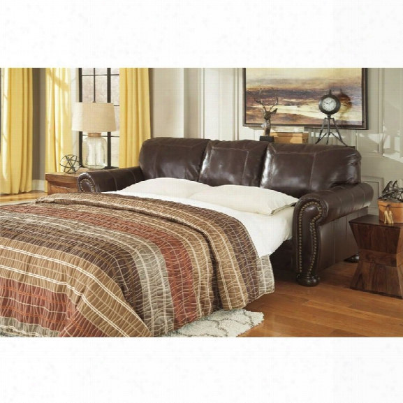 Ashley Banner Queen Leather Sofa Bed In Coffee
