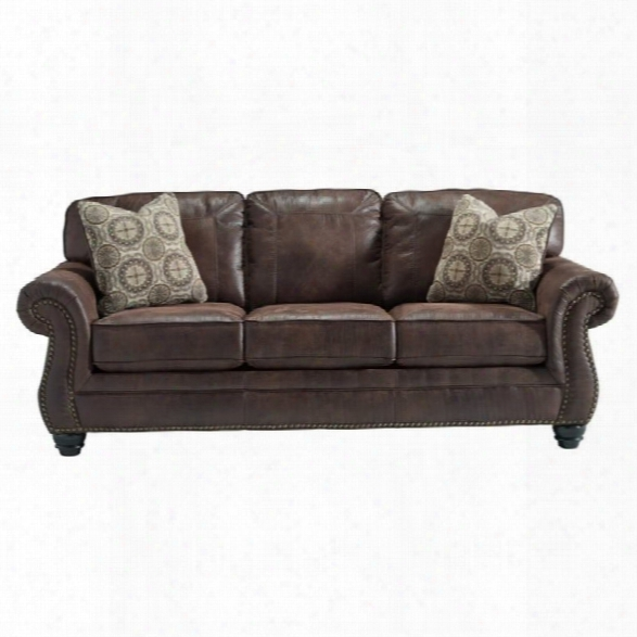 Ashley Breville Faux Leather Queen Size Sleeper Sofa In Espresso