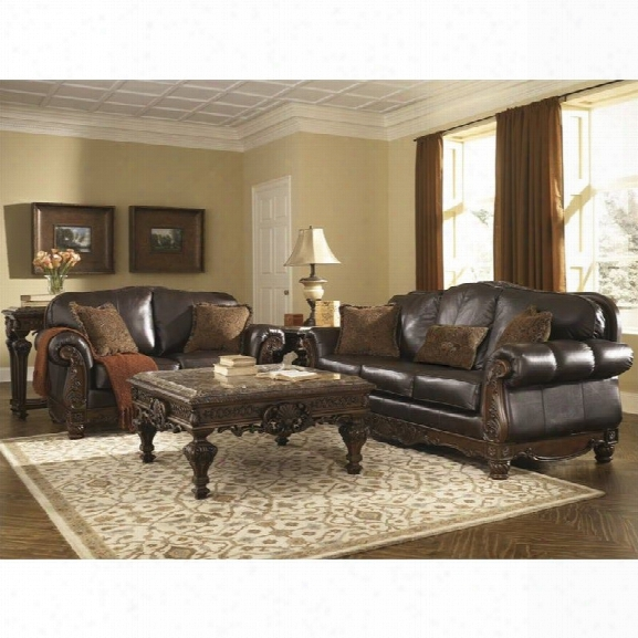 Ashley North Shore 2 Piece Leather Sofa Set In Dark Brown