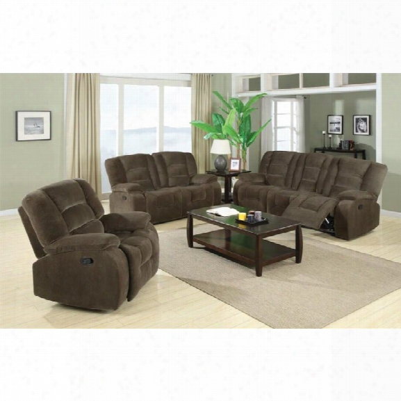 Coaster Charlie 3 Piece Reclining Sofa Set In Brown Sage Velvet