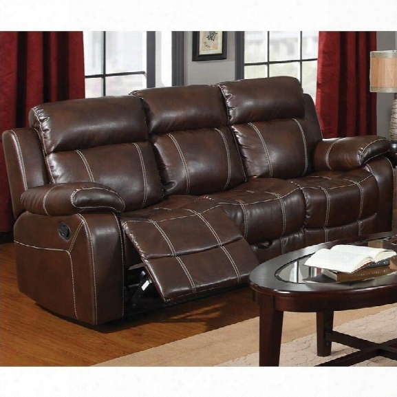Coaster Myleene Leather Motion Sofa In Brown