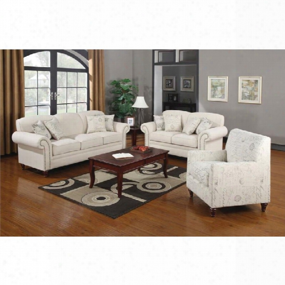 Coaster Norah 3 Piece Antique Inspired Sofa Set In Oatmeal