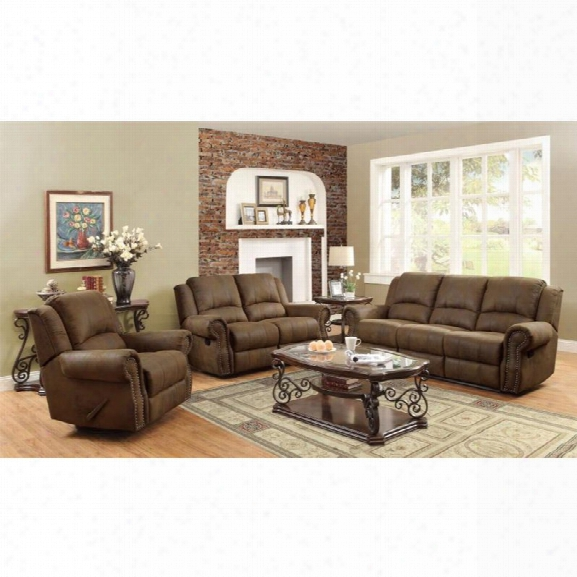 Coaster Rawlinson 3 Piece Microfiber Reclining Sofa Set In Brown