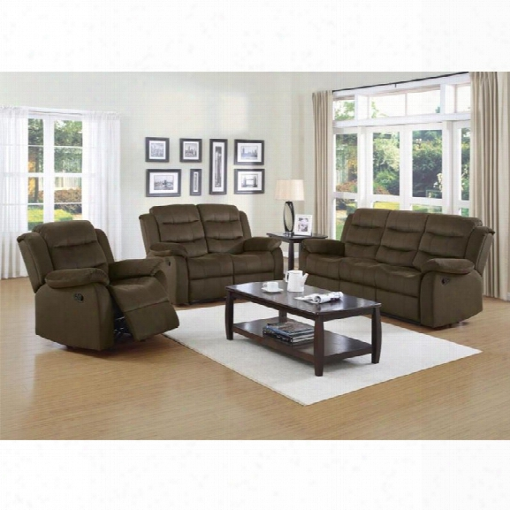 Coaster Rodman 3 Piece Reclining Sofa Set In Two Tone Chocolate