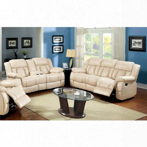 Furniture Of America Carrell 2 Piece Leather Reclining Sofa Set