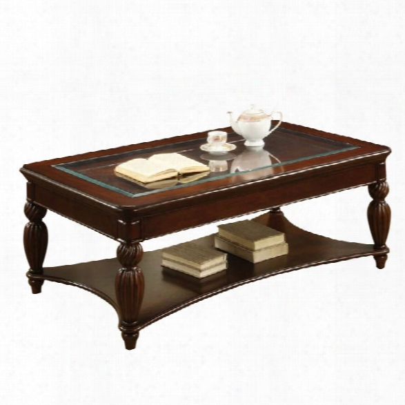 Furniture Of America Ittilic Shelf Storage Coffee Table In Dark Cherry