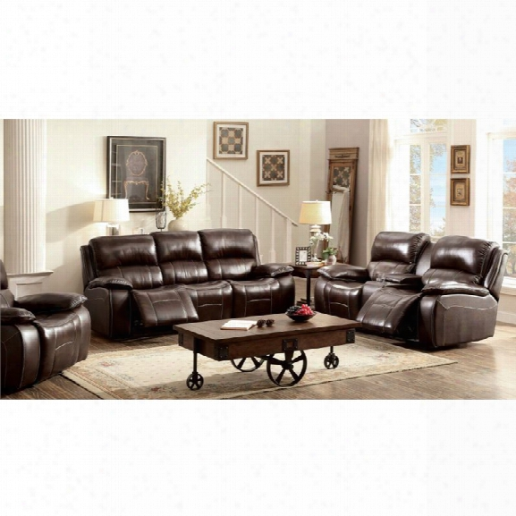 Furniture Of America Marta Top Grain Leather Recliner Sofa Set