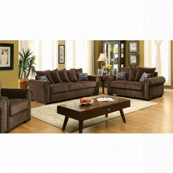 Furniture Of America Roxana 3 Piece Chenille Fabric Sofa Set In Brown