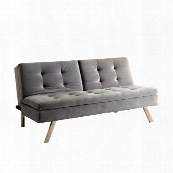 Furniture Of America Stevens Tufted Fabric Sleeper Sofa Bed In Gray