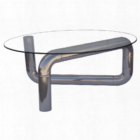 Moe's Boa Glass Top Stainless Steel Coffee Table In Silver