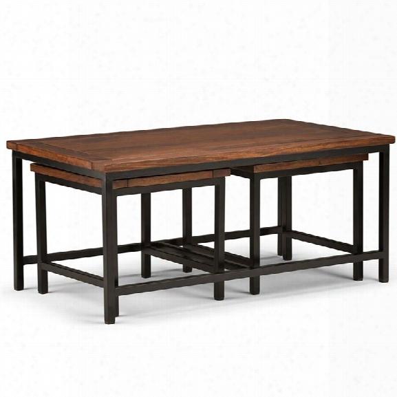 Simpli Home Kyler 3 Piece Coffee Table In Dark Cognac Brown