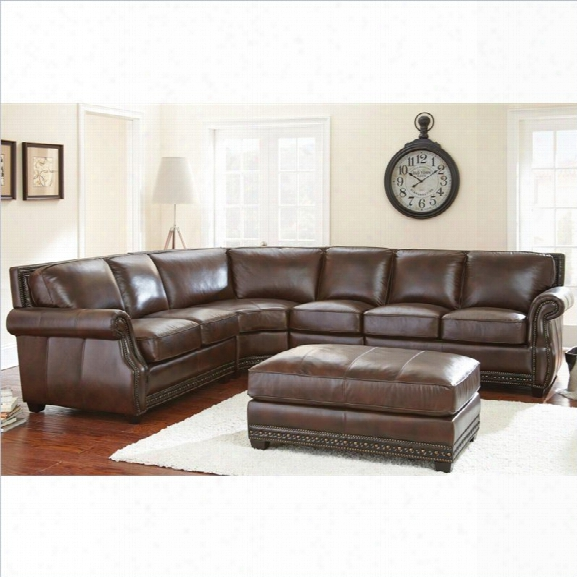 Steve Silver Company Henry Sofa With Ottoman In Antique Brown
