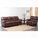 Abbyson Living Lea-Lee 2 Piece Leather Sofa Set in Burgundy